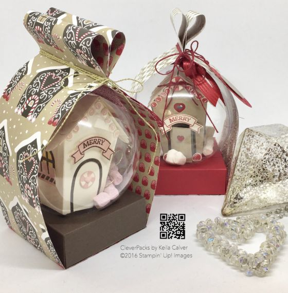 """""""29"""" Sleeps Till Christmas - Heart Box Wrap for Clear Baubles with Stampin' Up! Candy Cane Design Series Paper"""