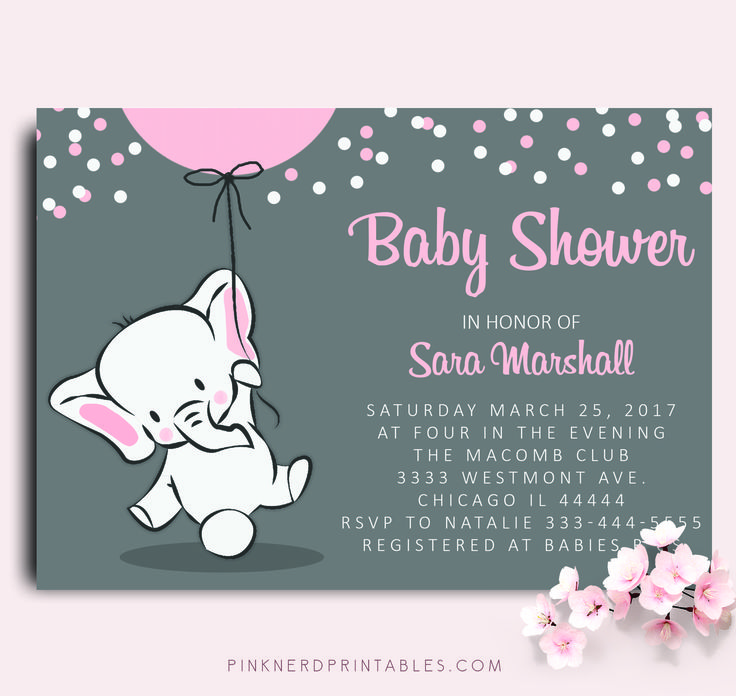 ELEPHANT BABY SHOWER INVITATION ELEPHANT HOLDING BALLOON BABY SHOWER INVITATION - Pink Nerd Printables