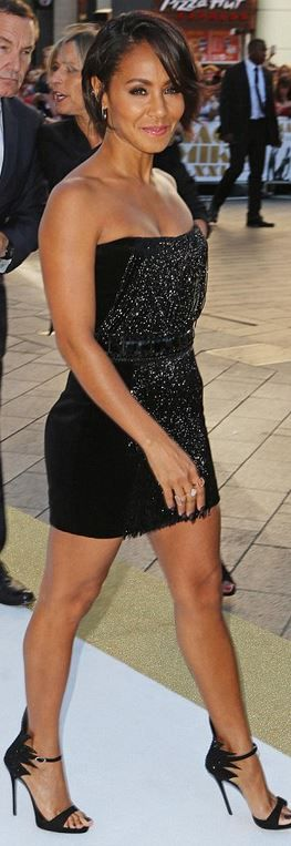 Who made Jada Pinkett Smith's black strapless beaded dress, jewelry, and sandals?
