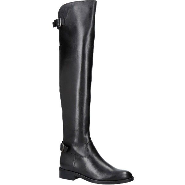 Carvela War Over the Knee Boots ($275) ❤ liked on Polyvore featuring shoes, boots, over-the-knee leather boots, above the knee boots, block-heel boots, leather boots and faux-fur boots