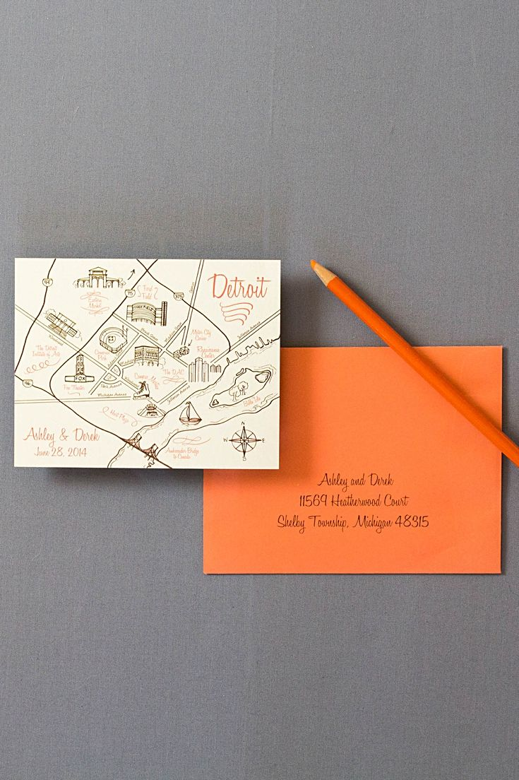wedding invitations map%0A Our Detroit save the date have a whimsical cartoon map of the entire city   We