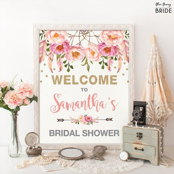 Floral Bridal Shower Welcome Sign. Pink Gold Bohemian Flowers. Boho Bridal Shower Decor. Pink Feathers Glitter Confetti. Dreamcatcher.