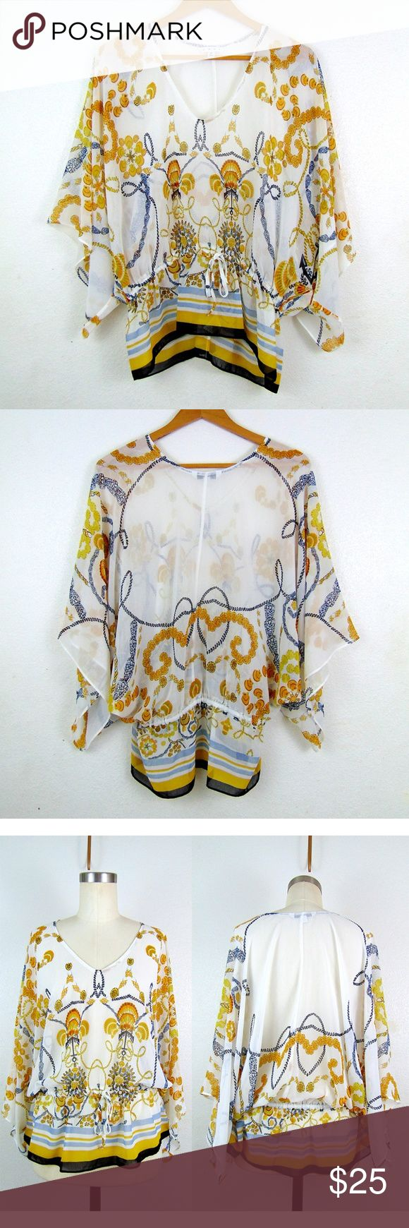 """CAbi Gold Rope Batwing Kimono Sleeve Print Blouse Very pretty white Cabi top with a kimono/batwing type sleeve, a nautical rope print in gold and navy, and a wasit tie for adjusment.   Excellent condition with no signs of wear!! No rips/holes/tears. No stains or fading See images.  Measurements (laid flat, unstretched): Top is loose and oversized.  Couldn't figure out how to measure.  Length 26"""" Waist 16"""" at cinched waist, can be bigger Hem 24"""" Material Stretch? no  Questions? Offers…"""