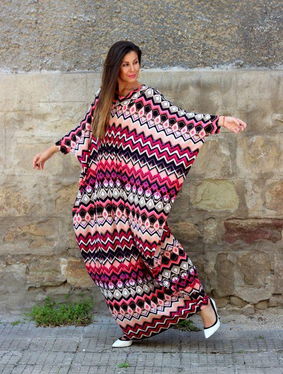 Multicolored Abaya dress//maxi Plus size by cherryblossomsdress