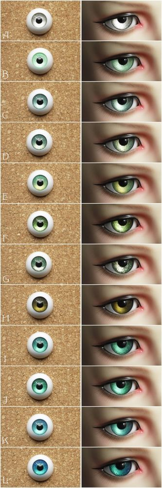 [Clover-yama] half ball eyes metal bjd SD/MSD 1/3 1/4 1/6 doll use green 12color #Cloveryama