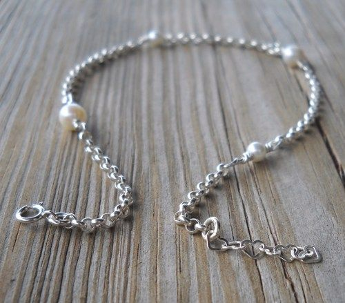 925 Sterling Silver Fresh Water Pearl Anklet | pavlos - Jewelry on ArtFire