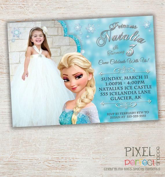 FROZEN PRINTABLE INVITATION, Custom Frozen Invitation For Girls Birthday Party, Frozen Party Decor, Photo Invitation, Disney Frozen, Frozen on Etsy, $11.99