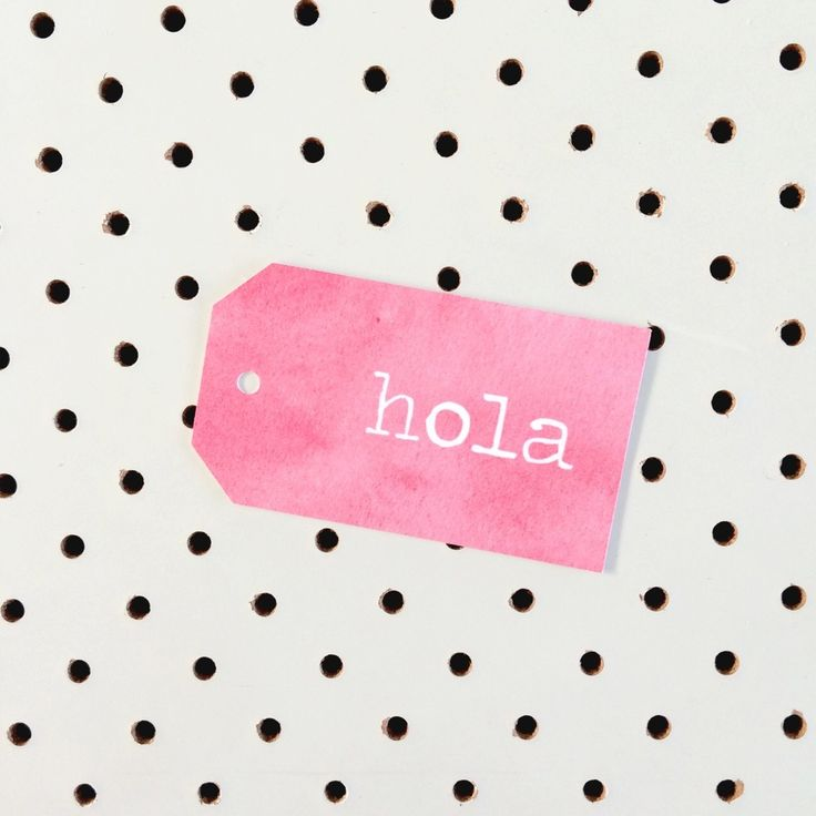 Hola on pink water colour gift tag.Printed on high quality felt card stock.