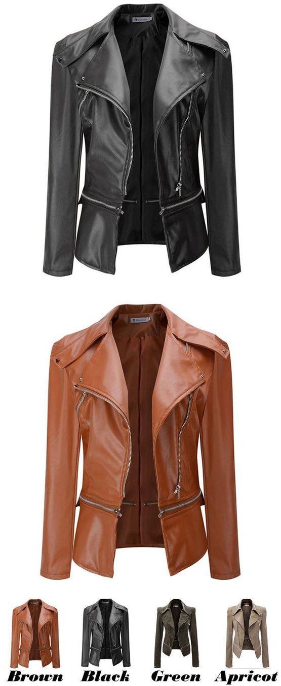 Fashion PU Leather Zipper Jacket Autumn Coat PU Clothes Motorcycle Leather Jacket for big sale! #leather #jacket #pu #coat