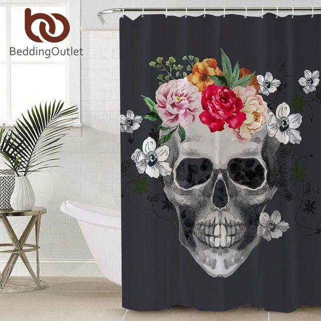 Beddingoutlet Sugar Skull Shower Curtain Floral Black White Gothic Waterproof Bath Curtain With Sugar Skull Shower Curtain Skull Shower Curtain Shower Curtain