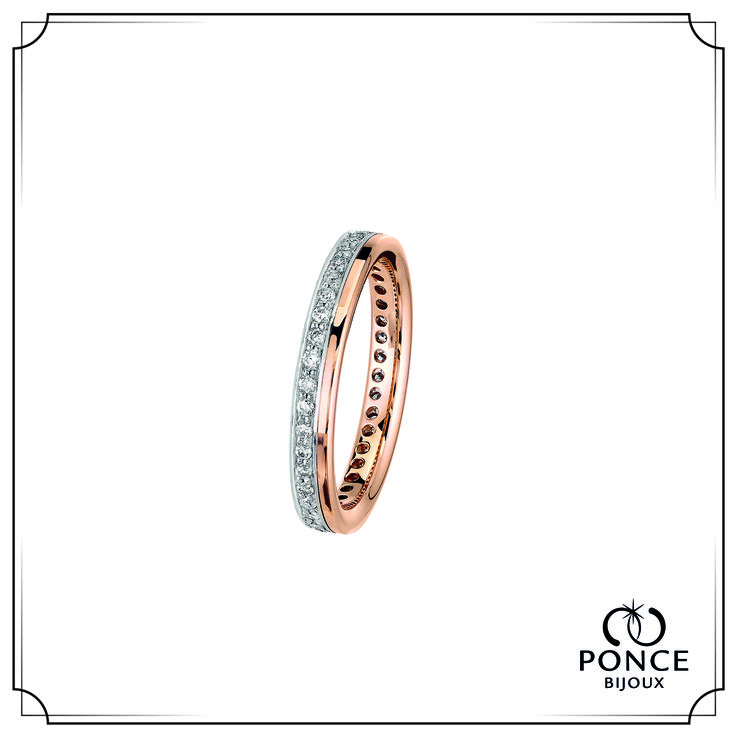 Bijoux Ponce, TOGETHER FOREVER alliance femme, alliance diamant 2 Ors Or rose - Or gris, Base Or rose Anneau Or blanc serti Tour Complet de Diamants 56*0.005 ct H-SI Existe en Or Jaune #bijouxponce #love #weddingring #Paris #MadeInFrance #jewellery #alliance #mariage #bijoux