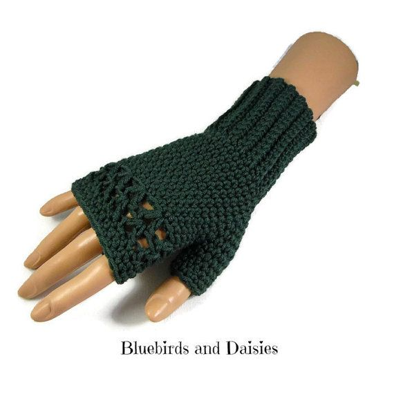 Deep Green Merino Wool Gloves by Bluebirdsanddaisies on Etsy