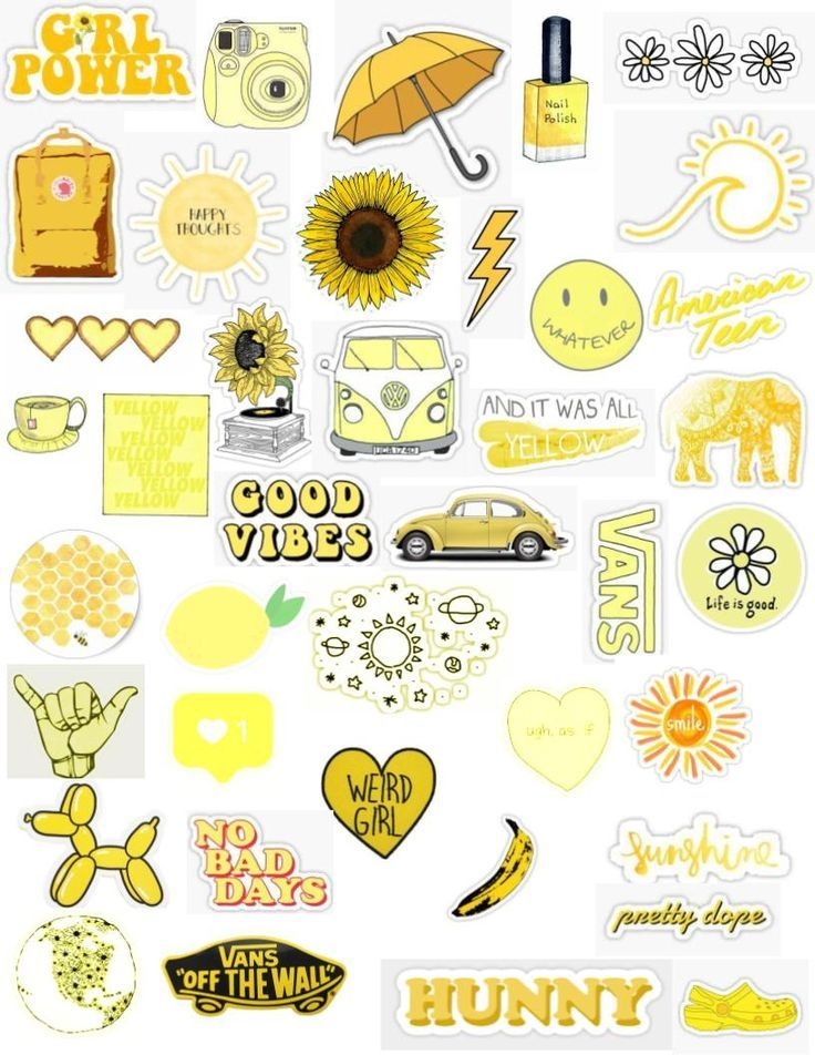 Yellow Tumblr Aesthetic Bright Pastel Color Sticker Pack Png