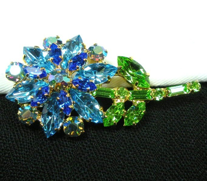 "Vintage Rhinestone Flower Brooch Large 2 5"" Blue Green Layered Daisy Pin 