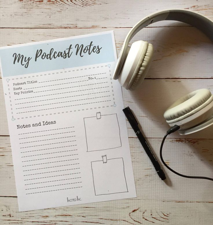Free printable for you to use to take notes when listening to your favourite podcast. We've listed 5 podcasts to listen to if you want to start a business.