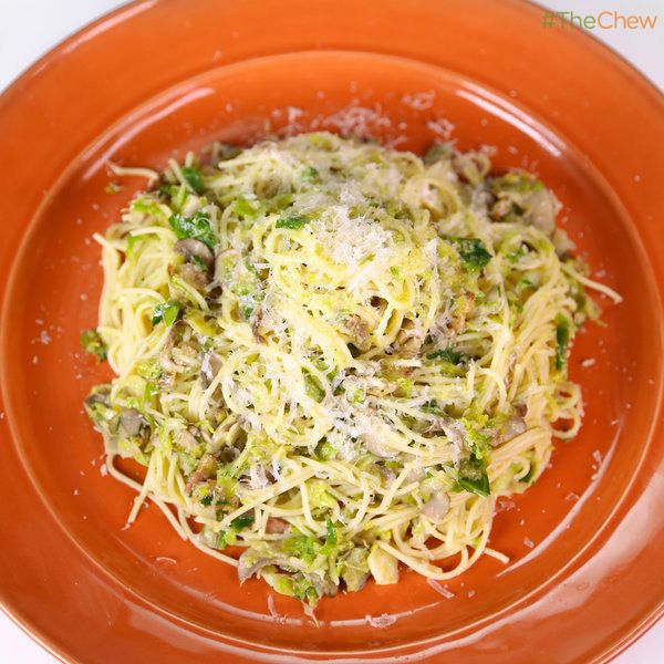 Angel Hair with Bacon, Brussels Sprouts, and Mushrooms! #TheChew #Pasta