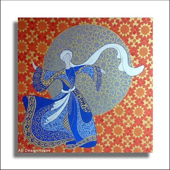 Original Painting Whirling Dervish Sufi Dance Rumi Miniature - AESMPM0017