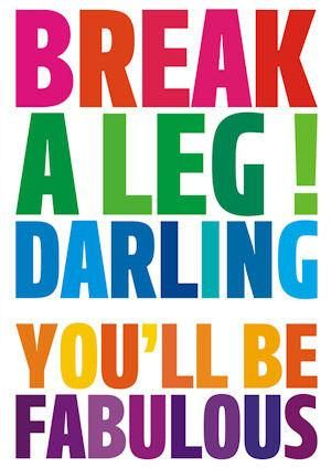 Break A Leg! Darling Youll Be Fabulous Good Luck Card - £2.50 - A ...