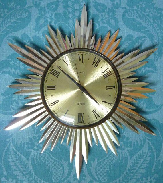Metamec vintage 1960/70s starburst/sunburst wall clock, iconic, good condition #sixties #metamec #1960s #midcentury #clocks **NOW SOLD**