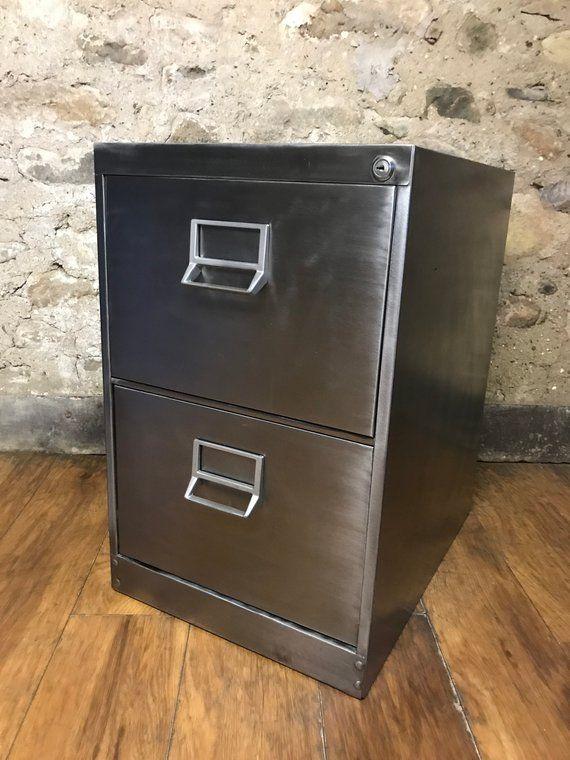 Vintage Industrial Stripped Metal 2 Drawer Filing Cabinet With Hanging Rails Vintage Industrial Drawer Filing Cabinet Filing Cabinet