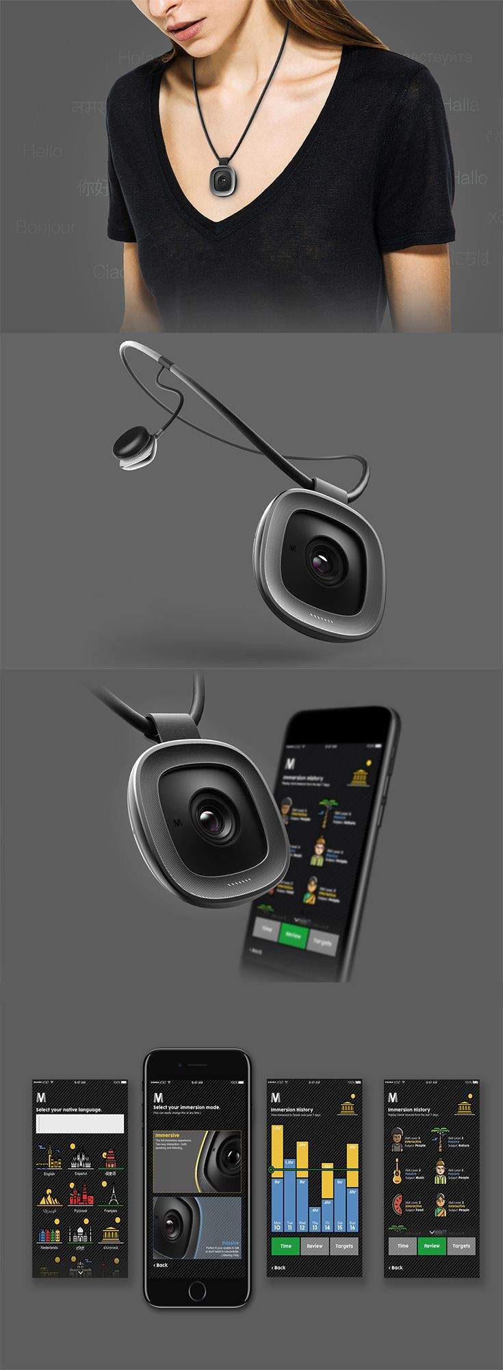 'Mersiv' is a modern language-learning device that brings the type of immersive learning to you, wherever you are, it utilizes a camera, microphone and headphones to identify and tailor unique micro language lessons directly reliant to the user in that moment... READ MORE at Yanko Design !