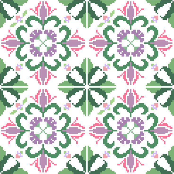 This is a repeat tile like cross stitch pattern perfect for larger projects such as table cloths and cushion covers. Design by CrossStitchtheLine