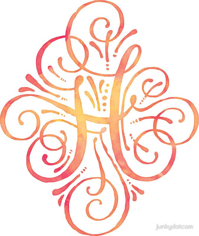 Monogram Watercolor Calligraphy H sticker @redbubble