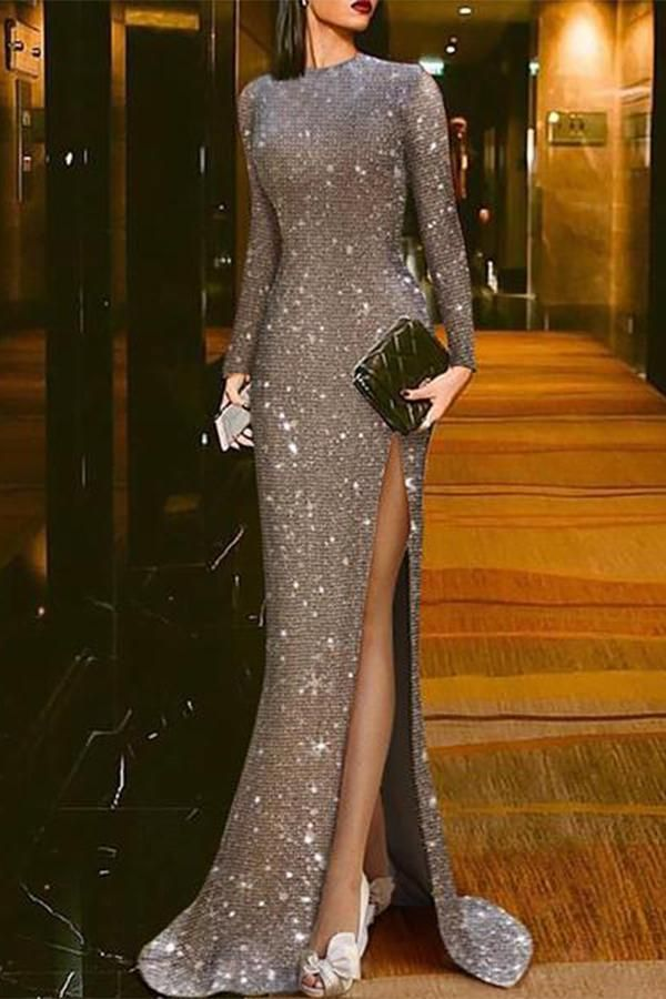Elegant Silver Split Sexy Round Neck evening dresses prom evening dress evening ... 3