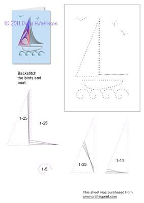 Sailing Boat on Craftsuprint designed by Diana Hutchinson - A stitching pattern of a sailing boat. - Now available for download!