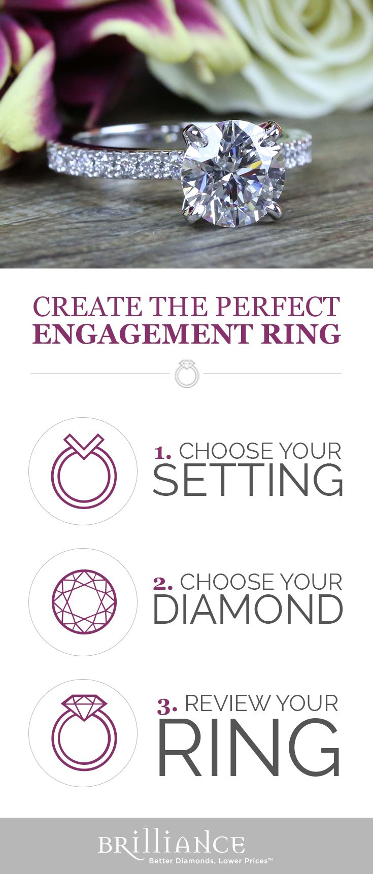 Create your perfect engagement ring! Start with a beautiful setting, add your choice of diamond and see it all come together!