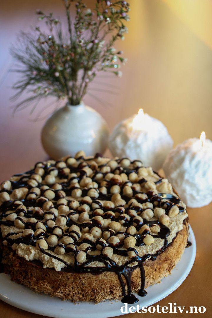 Nøttekake med sjokolade og kaffekrem | Det søte liv
