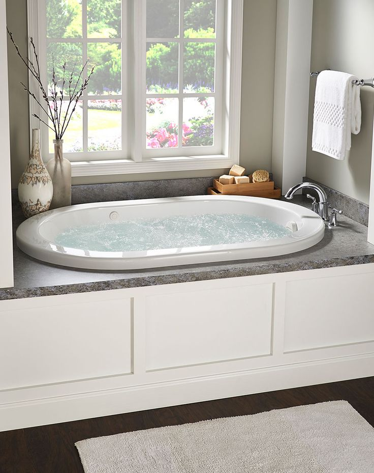 """Enjoy a soothing soak in this Ridgefield Whirlpool. This soaker tub features a 19"""" soaking depth, a textured bottom and 8 Clean Jets."""