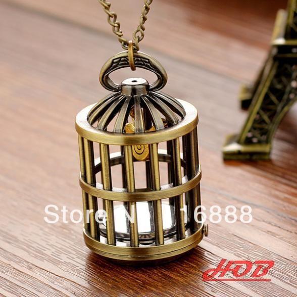 Antique vintage women pocket watch birdcage necklace hand wind fashion Reloj De Bolsillo dropship hot sale