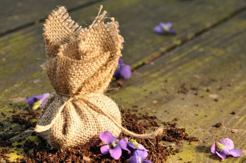 These would make an adorable gift...they're just a handful of soil and some flower seeds tied in hessian/burlap. You just bury the whole thing in the ground, water it and wait for it to grow! Apparently the seedlings will grow through the fabric. I would try easy to grow seeds like Zinnias or Cosmos.