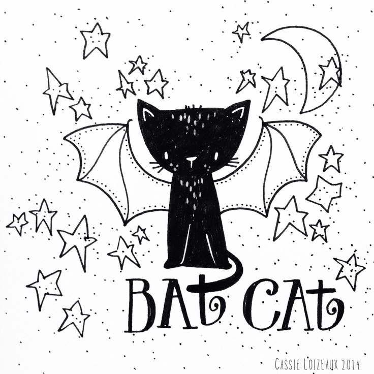Bat Cat. Day 152 of yearlong sketchbook project. Cassie Loizeaux