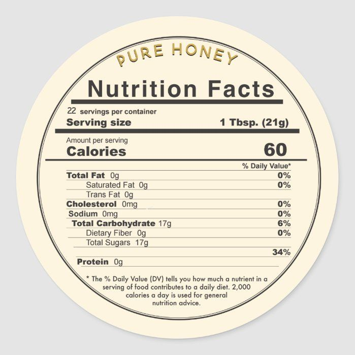 Honey Round Editable Nutrition Facts Label Zazzle Com In 2021 Nutrition Facts Label Nutrition Facts Design Nutrition Facts