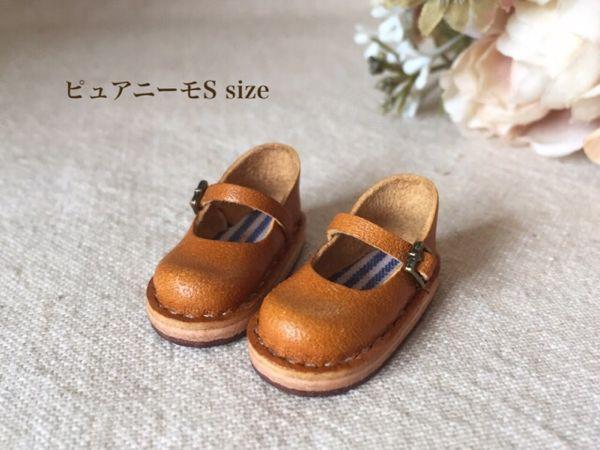 【ピュアニーモS size】レザー 靴 ストラップシューズ 革 ハンドメイド ミニチュア キャメル_画像1