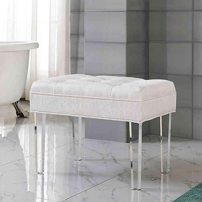 Delray Vanity Bench In Pearl Bed Bath Beyond Bathroom Vanity Chair Bathroom Vanity Stool White Vanity Chair Vanity stools and benches