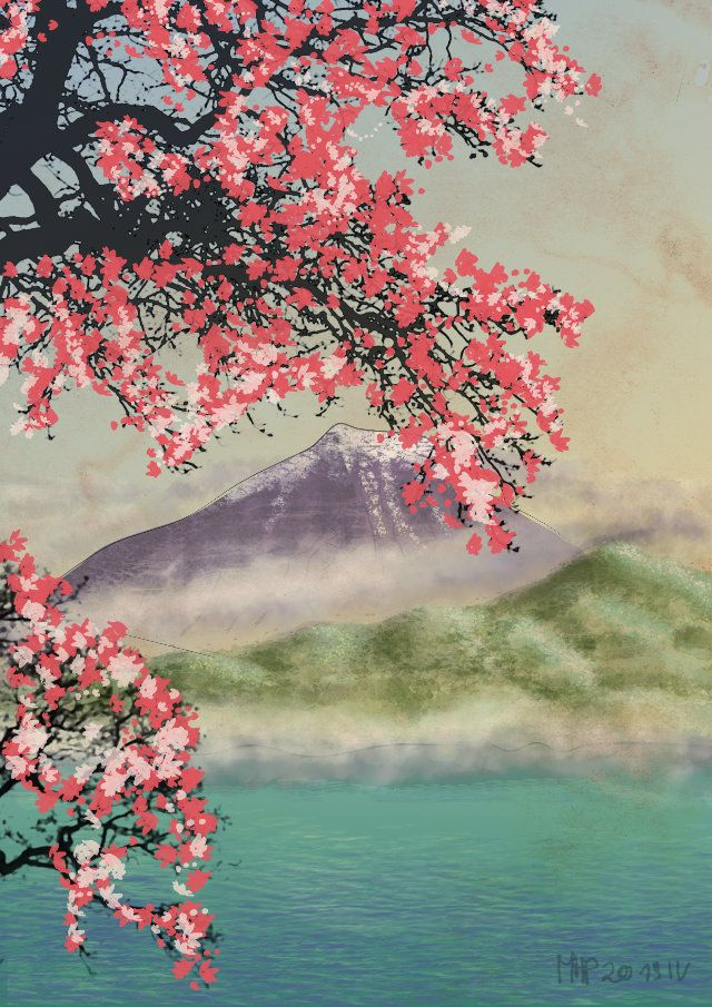 Cherry Blossoms At Mountain Fuji By Https Www Deviantart Com Marpaw123 On Deviantart Cherry Blossom Painting Cherry Blossom Art Cherry Blossom Wallpaper