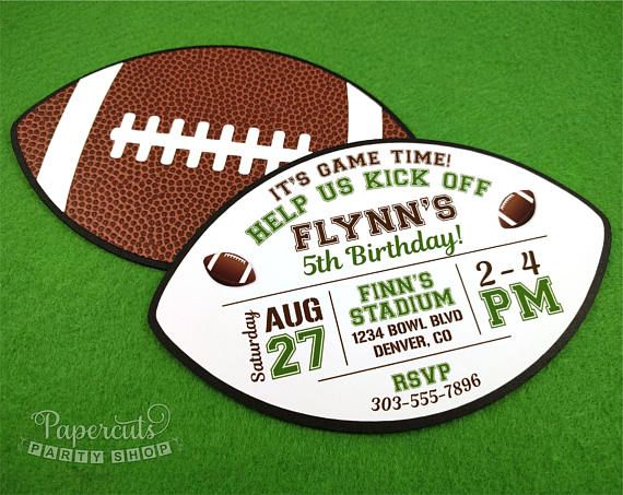 Football Theme Birthday Party Invitations | Personalized