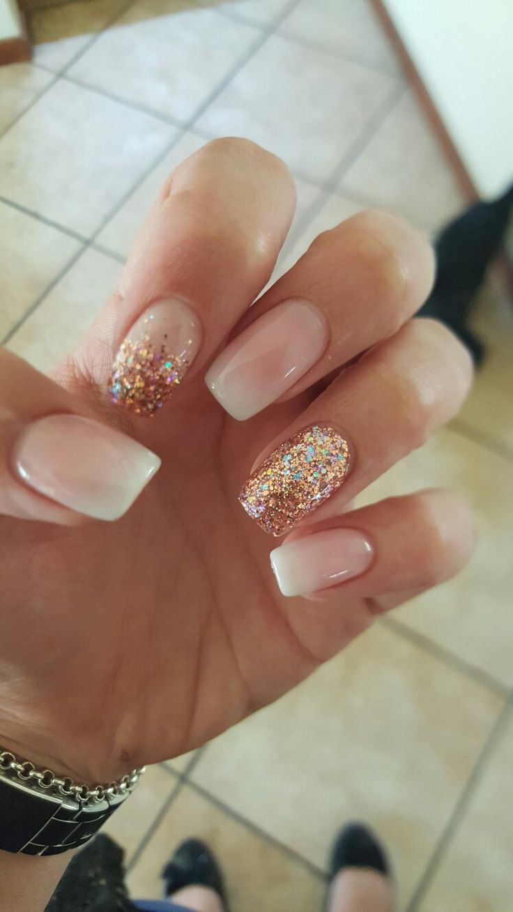 fade in nails with rose gold glitter