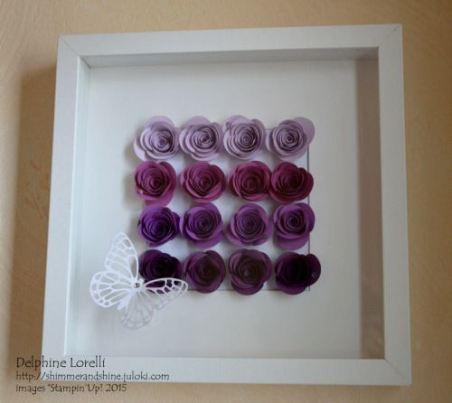 Shimmer and Shine - Ombre Roses Frame - #StampinUp, #SpiralFlowerDie, #ombre, #roses, #purple, #butterfly