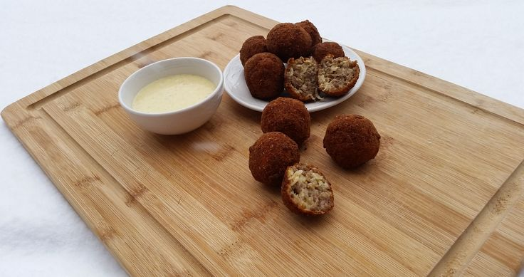 Find the recipe for this delicious German Appetizer on my blog: German fried Sausage Balls with a mustard and honey dip!