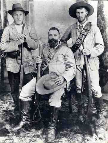 A Boer commando unit composed of a father and his two sons, South Africa, 1899-1902.