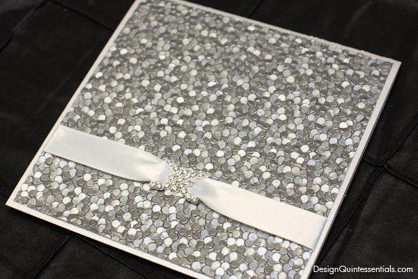 Embossed Pebble Wedding Invitation in Square Folded Pocket.