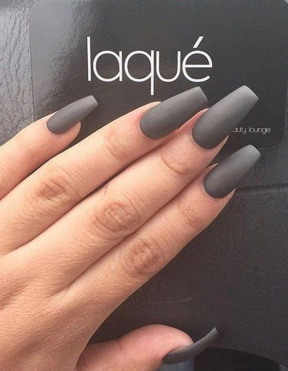 Grey Color Is Very Formal For Me But On This Length Of Nails It Look Very Feminine It S A Little Bit Cold Color So In 2020 Coffin Nails Matte Dark