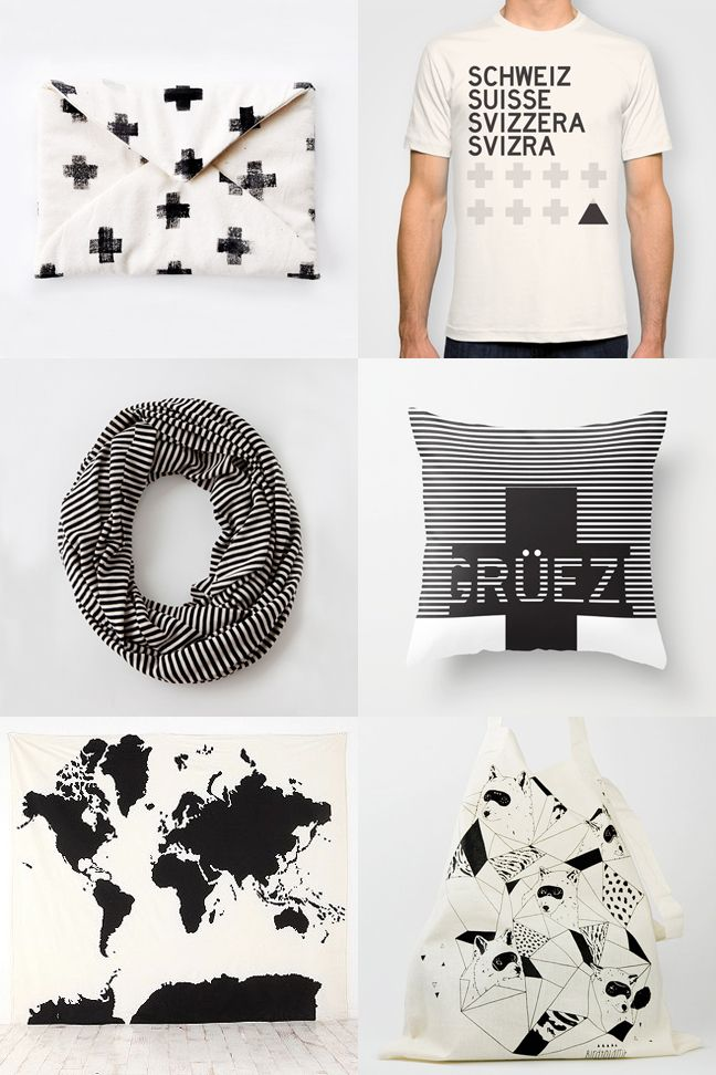 holiday gift guide, black and white, American Apparel scarf, swiss cross, throw pillow, fox tote bag, map tapestry