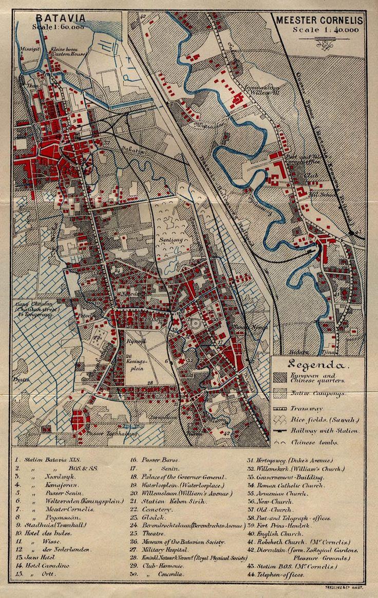 Kaart van Batavia met de wijk Meester Cornelis uitvergroot.