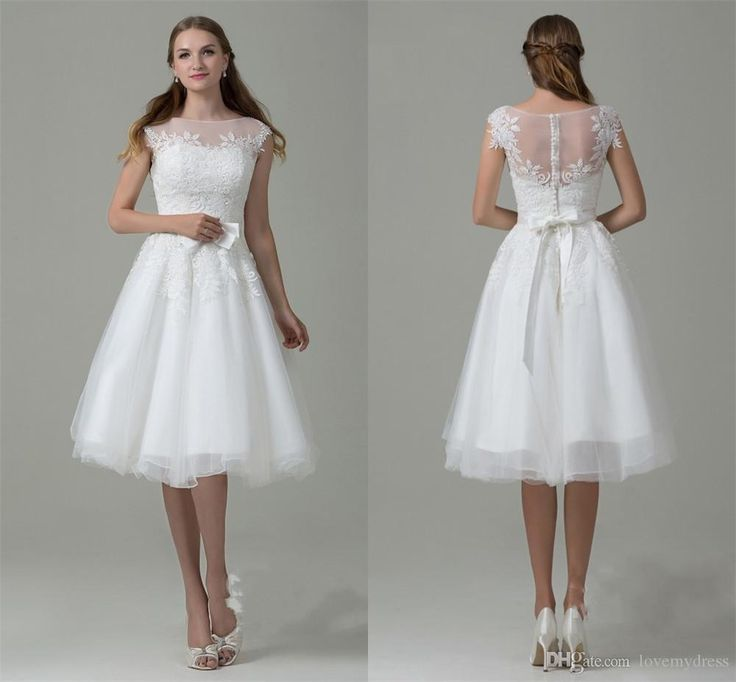 iullsion neck lace wear pearl back sweet girls dresses cheap price short bridal gown wedding dresses