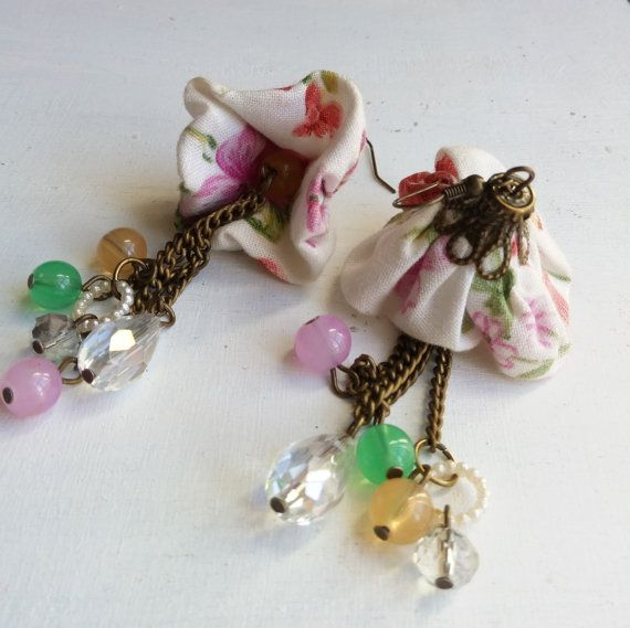 Shabby chic romantic spring vintage fabric by ManthaCreaMiniatures